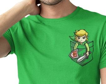 250d2b5ca Link Pocket / The legend of Zelda inspired gamer pocket tee/ Mens Funny  Unisex T Shirt