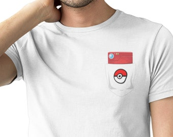 9cd4ccd2 Pokedex Pocket / Pokemon inspired gamer pocket tee/ Mens Funny Unisex T  Shirt loose fit