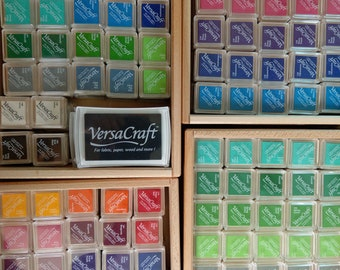 VersaCraft fabric stamp pad large and mini, with wide color selection, stamping ink for fabric, paper, wood, tsukineko, happyhills