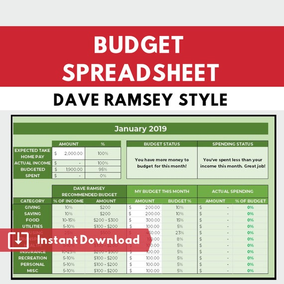 Dave Ramsey Budget Planner Budgeting Spreadsheet Calculator