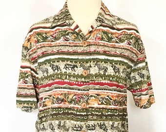 SAFARI ANIMAL blouse PLAID checkered button up short sleeve shirt neutral earth tones embroidered art mom floral flower graphic 80s 90s y2k