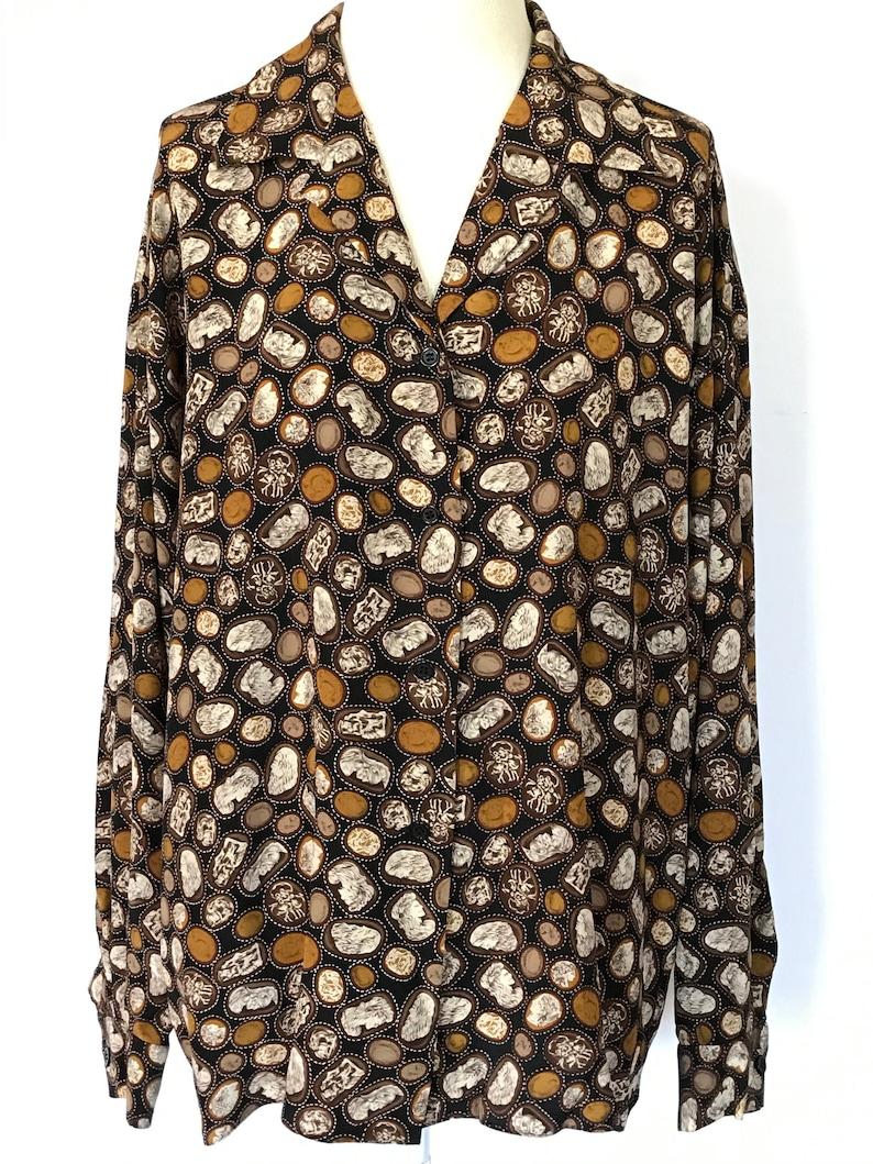 Cameo Pendant Design Size Women XL Coin Brown 14 80s 90s Silk Button Up Shirt Long Sleeve Black