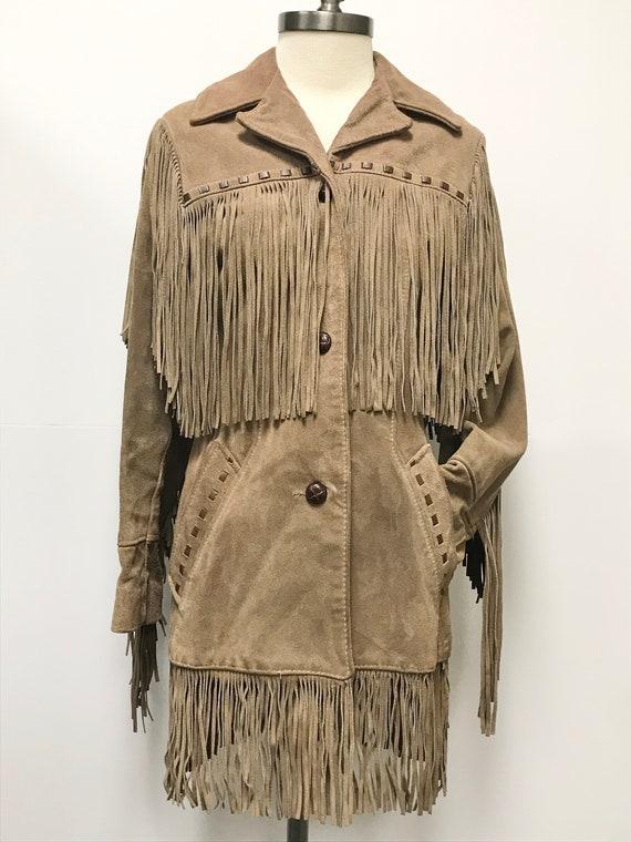 70s 1970s Brown Suede Jacket - Fringe - Leather -