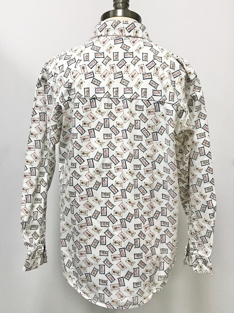 90s 1990s Long Sleeve Button Up Shirt Size Women Medium Oversize Pockets White Floral Abstract