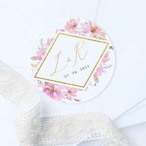 Editable Favor Stickers Template Instant Download Printable Initials Stickers #001 Wedding Initials Stickers Label Wedding Stickers