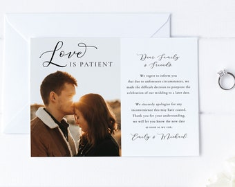 Love Is Patient, Postponed Announcement, Change The Date, Change Of Plans, Instant Download, Editable Wedding Change Date, Save Our New Date