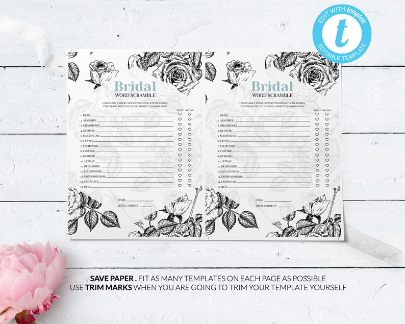 Bridal Word Scramble Game Editable Bridal Shower Game Template Instant Download Editable Bridal Shower Game #003 Printable Game Template
