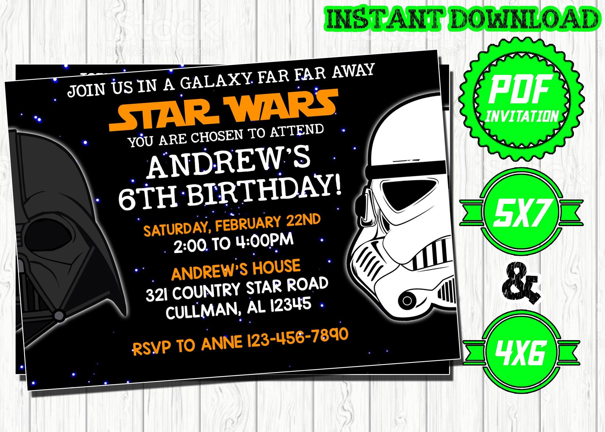 Star Wars Invitation Star Wars Birthday Star Wars Movie Party Starwars Invites Darth Vader Printables Instant Download Digital Card