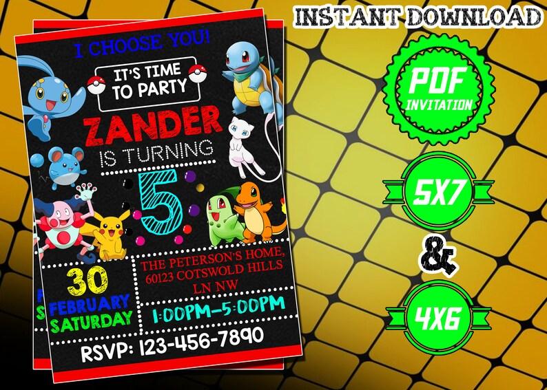 Pokemon Invitation Pokemon Birthday Party Invitation Instant Download Pokemon Birthday Invitation Pokemon Card Pdf Editable Printable