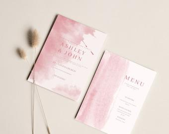 5x7 (2 Pc. )Invitation, Digital Download, Wedding Template Bundle, Wedding Suite Download, Canva Wedding Set, Invite ( Customize Fonts)