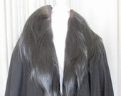 Late 1920 39 s Black Wool Coat with Long Hair Shawl Collar Attached Cape-let Sz 6