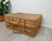 Original Large Vintage Rattan Case, Wood, Rattan, Wicker Case, Boho Chic Decor, Vintage Friesland