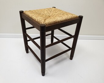 Vintage Wooden Stool With Woven Top, Farmhouse Decor, Vintage Friesland.