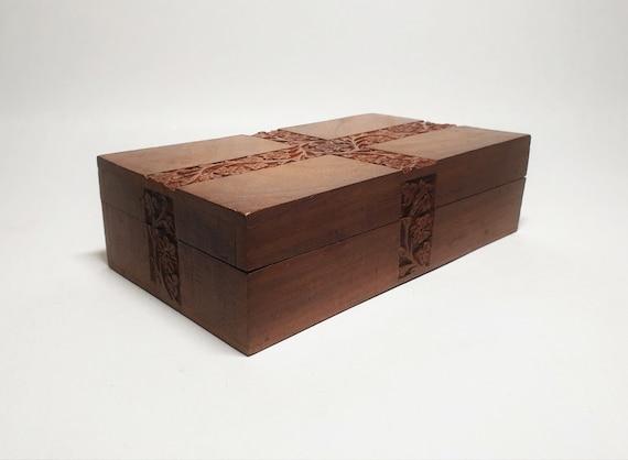 Beautiful Rosewood Carved Storage Box, Jewelry Box