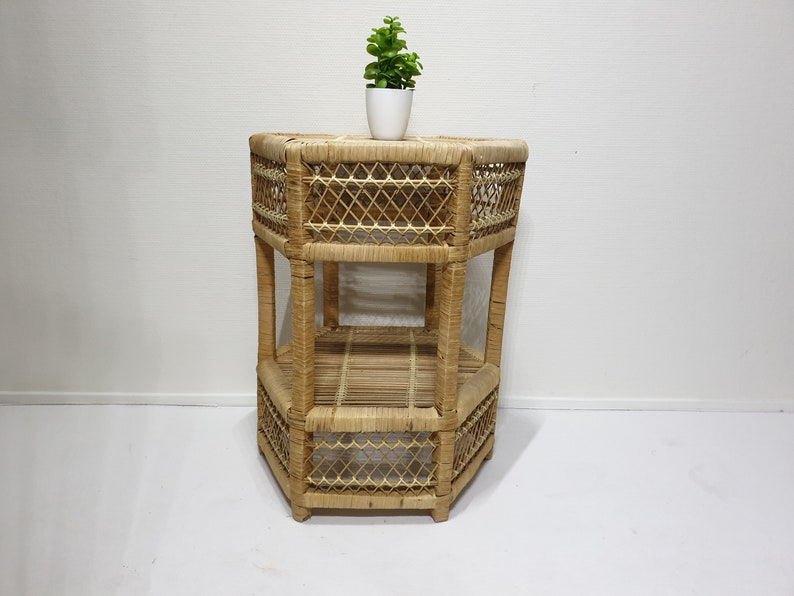 Vintage Rattan Side Table Plant Stand Bamboo Wicker Home Deco Wicker Side Table Rattan Farmhouse Home Deco Vintage Friesland.