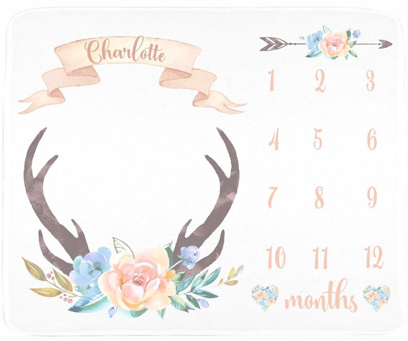 Deer Antler Girl Milestone Blanket Floral Deer Blanket Peach and Blue Newborn Baby Girl Floral Blanket Baby Gift Boho Baby Blanket Baby Girl