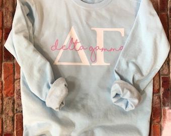 Delta Gamma Chambray Comfort Color Sorority Greek Shoreline Shirts