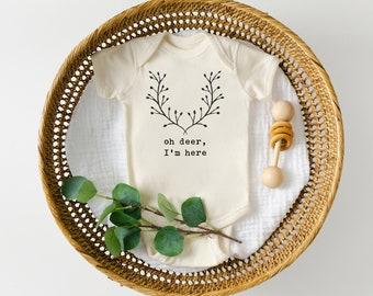 Oh Deer I/'m Here Bodysuit  Baby Girl Clothes  Newborn  Buck  Woodland