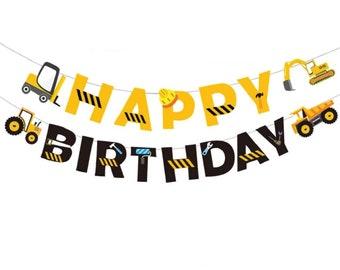 Boy/'s Birthday Decor. Construction Garland Construction Party D\u00e9cor Trucks Garland