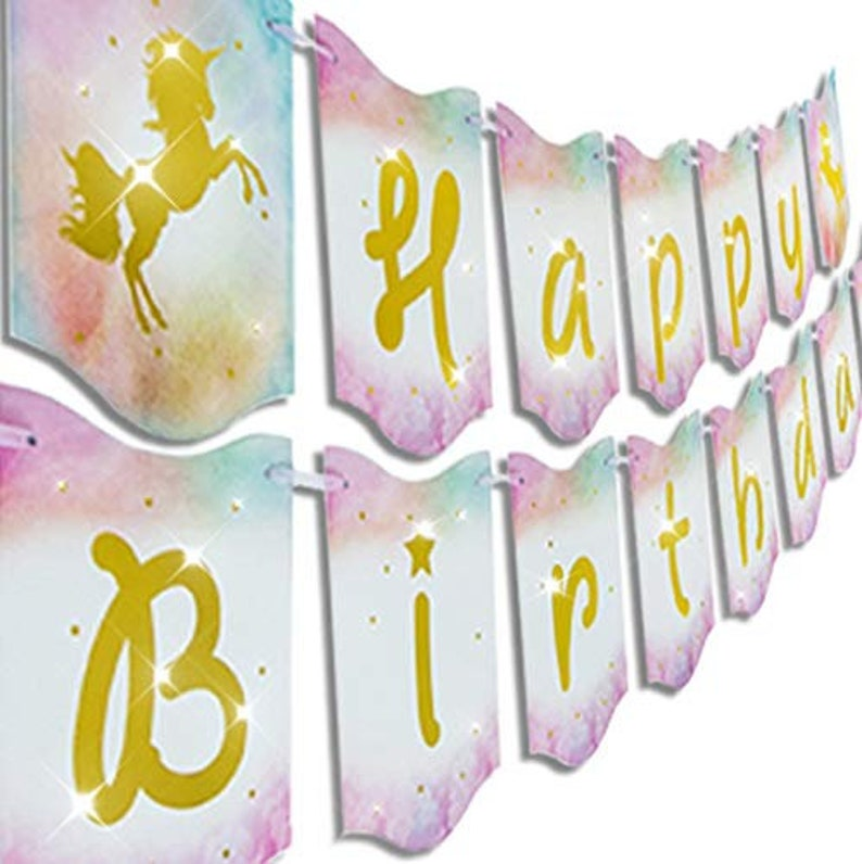 Unicorn Party Decorations Unicorn Birthday UNICORN Birthday Banner Happy Birthday Banner