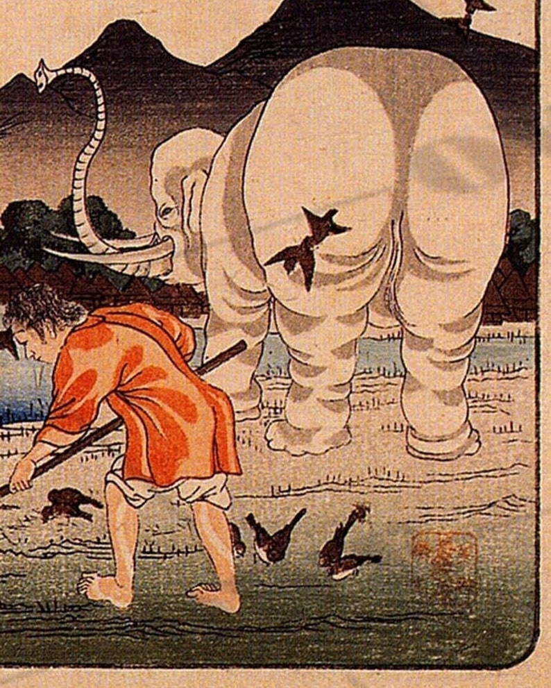 Utagawa Kuniyoshi Japanese artist Woodblock print of a Farmer with Elephants /'Thaishun with Elephants/' 1840s Asian art