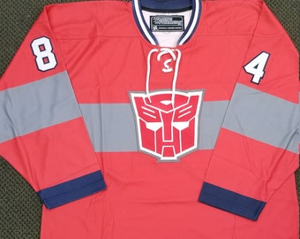 5c8d2904346 Red Optimus Prime Transformers  84 Hockey Jersey