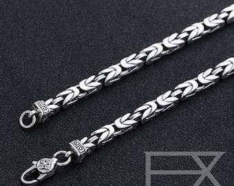 925 Sterling Silver Pestle Clasp Byzantine Chain, made by Bali