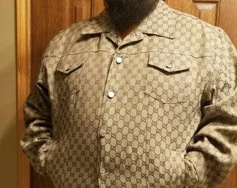 f2098fb28 Vintage Rare Gucci GG Monogram Jacket Shirt Blazer Top