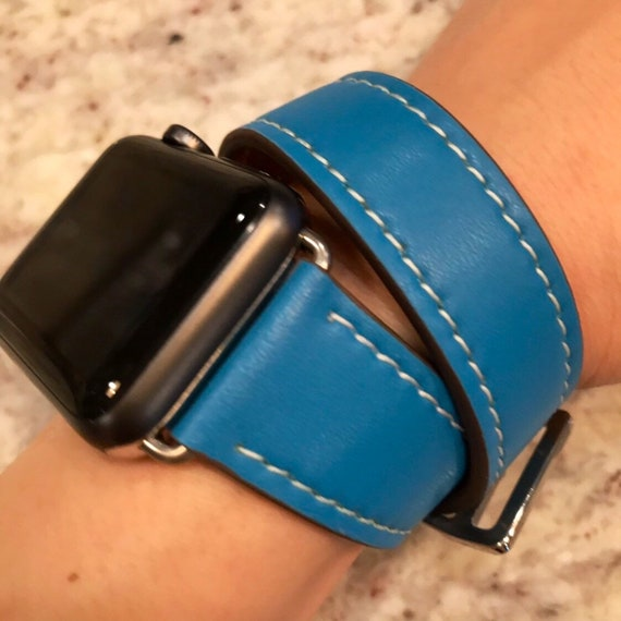 Apple Watch Band Double Wrap Handmade Leather 38mm 40mm Fits Etsy