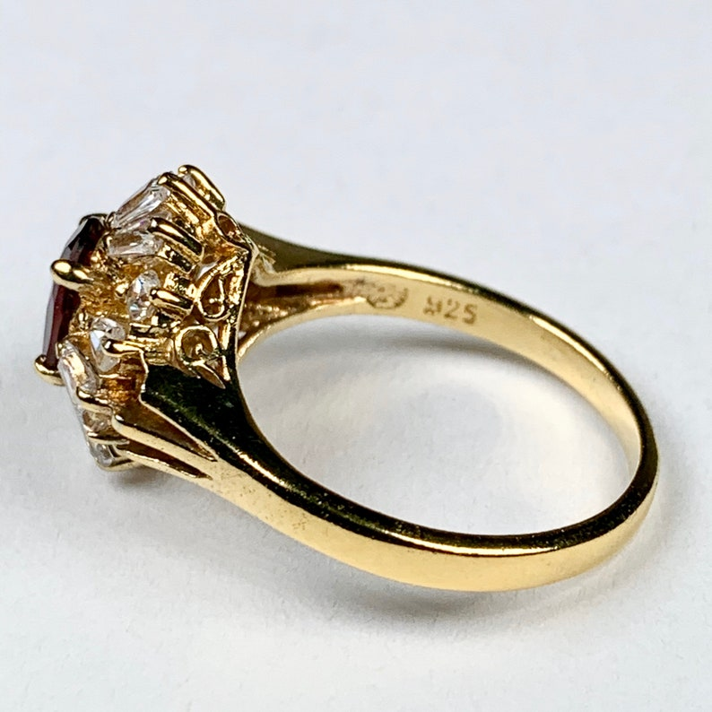 Size 7 34 Vintage Gold over Sterling Silver Simulated Ruby Crystal cz Cocktail Statement Ring