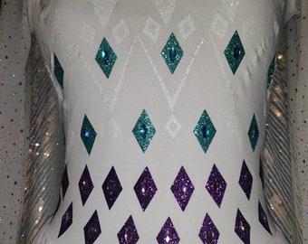 Frozen 2 Queen Elsa Inspired White Elements Fifth Element Cosplay Dress Gown Glitter HTV Vinyl Transfer Design & Rhinestone Gems ONLY
