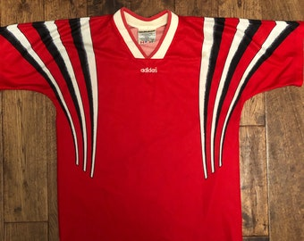 Red adidas jersey | Etsy
