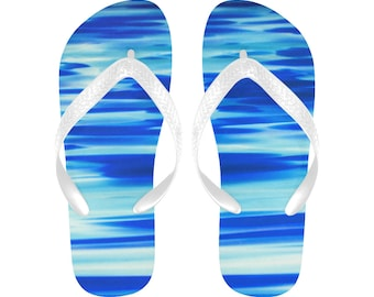 86287d5a9cf59 Ocean Flip Flops ~ Peaceful Waters Blue Flip Flops ~ Beach Thongs ~ Slip on  House Slippers ~ Beach Wedding Guest Flip Flops ~ Free the Beach