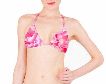 1de85df231f41 Bikini TOP Custom Size Bikini Separates Tropical Peony Triangle String Tie  Adjustable Top Bohemian Pink Floral Print Free the Beach
