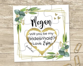 Scratch Off Will you be my Bridesmaid? Card - Maid of Honor gift, Flower girl card, Bridesmaid Ask Card Personalized puzzle