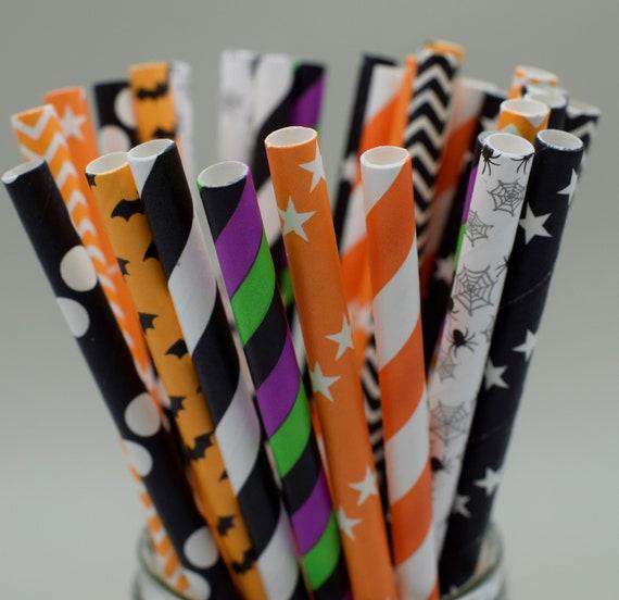 Halloween Straws Striped Paper Straws Orange Black NEW 25 pack