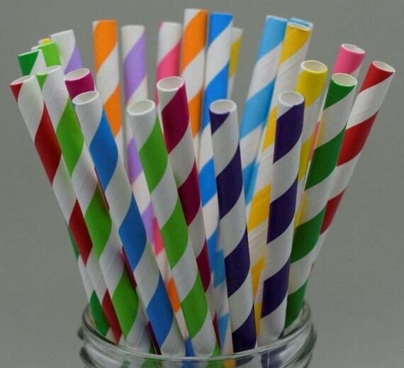25 x Stripe Paper Straws Birthday Wedding Drinking Party UK Buy 3 get 1 free