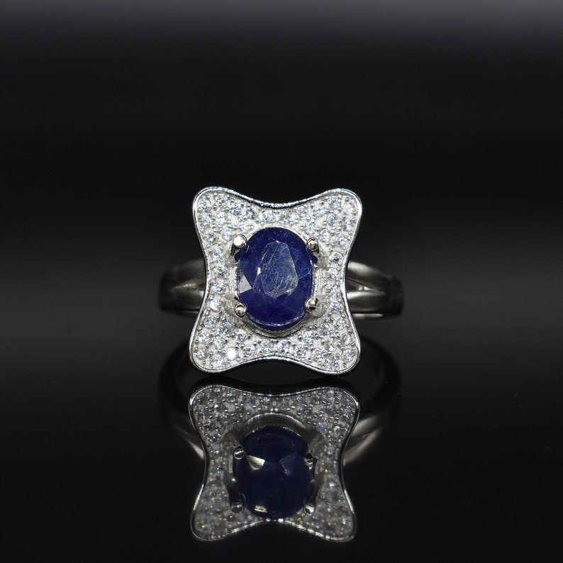 WOW Blue Sapphire Ring Free Shipping American Seller GR647 925 Sterling Silver Ring,Natural Sapphire Gemstone /& CZ