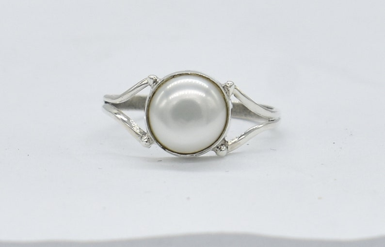 American Seller RJ-48 Natural Pearl Ring Free Shipping Pearl Gemstone 925 Sterling Silver Ring