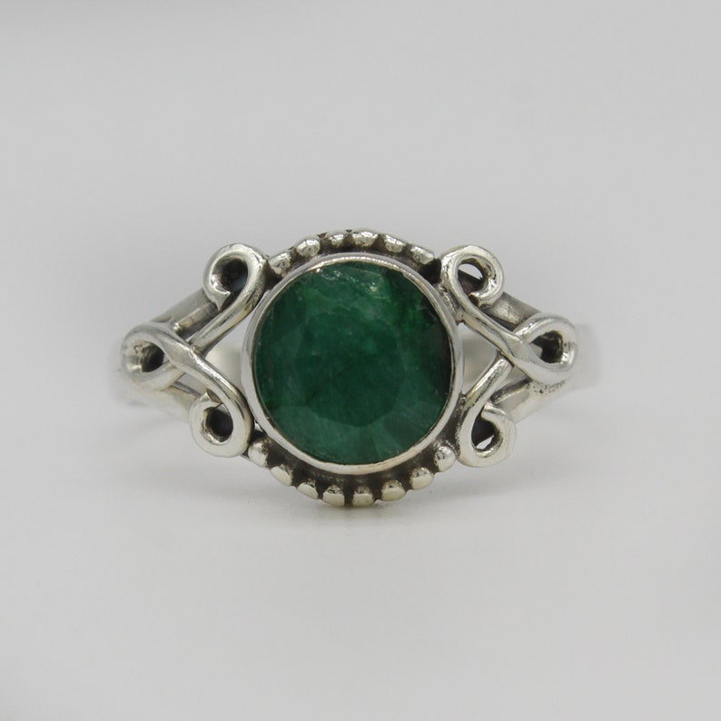 Emerald Gemstone American Seller AR489 925 Sterling Silver Ring Natural Emerald Ring Free Shipping