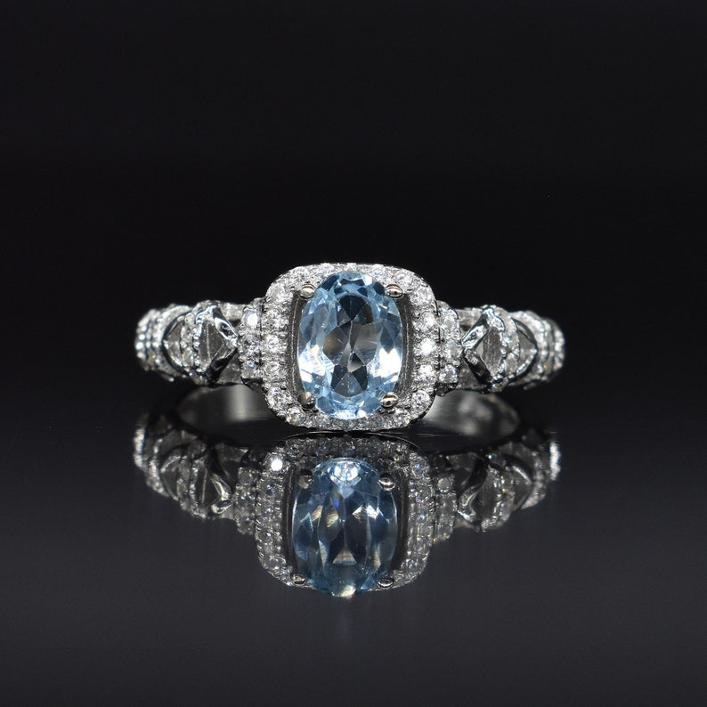 Free Shipping Natural Blue Topaz Gemstone /& CZ American Seller GR611 WOW Topaz Ring 925 Sterling Silver Ring