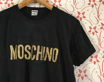 LOVE MOSCHINO EMBROIDERED MULTI COLOUR LOGO T-SHIRT NAVY BLUE RARE