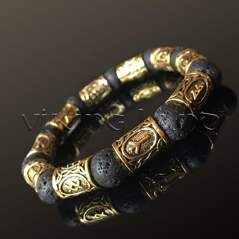 Bracelet with Runes Elder futhark runes Scandinavian Bracelet Viking Jewelry Viking Bracelet Lava bead bracelet Futhark runes