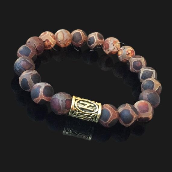 Sowilo Agate Bracelet Elder Futhark Sun Worship Prayer Bracelet Sun Worshipers Collection Pagan Viking Heathen WarcryHQ Rune
