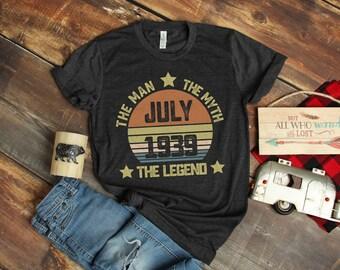 80th Birthday Gift Shirt Born In July 1939 For Dad Grandpa Birth