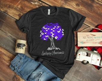 a4453260 Epilepsy Awareness T-Shirt / Epilepsy Ribbon / Epilepsy Awareness Tank Top  / Epilepsy Fighter Shirt / Epilepsy Warrior Tree And Hope