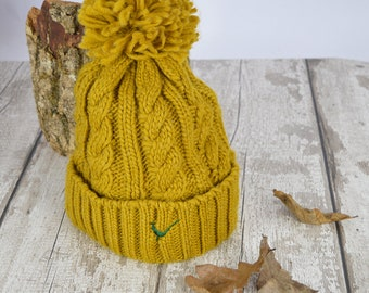 Mustard Pom Pom Hat with Pheasant Icon Embroidery exclusively designed by  Devon Wild 83c000a7bff1