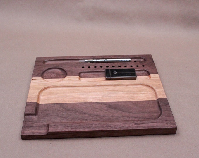 Walnut & Cherry hardwood rolling tray with satin finish.