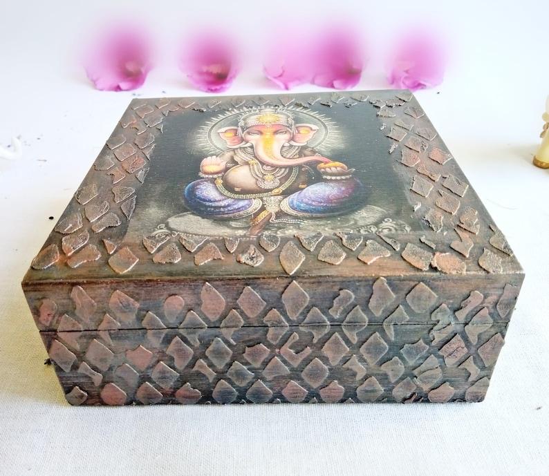 Unique anklets holder Decoupage keepsake box Lord ganesha art box Indian trinket box