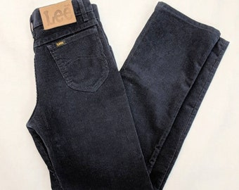 f9275db6 Lee Riders, corduroy, navy blue, 1970s, High waisted, High rise, 1980s